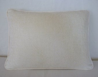 Ivory lumbar pillow cover with silk piping