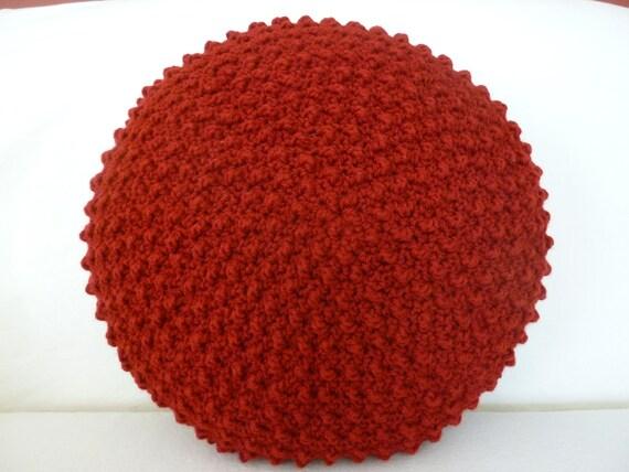 Burgundy crocheted 16 inch round decorative pillow