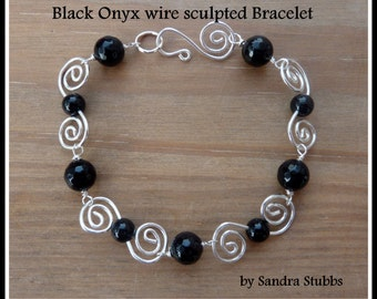Black Onyx Bracelet, wire-wrapped, Silver. Matching Earrings available