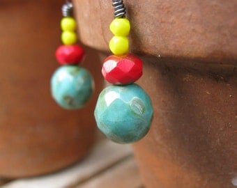 Christmas gift primary colors earrings