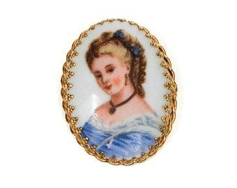 Limoges Portrait Brooch, Lady in Blue, Made in France, Unsigned Goldette, Designer Jewelry, Vintage