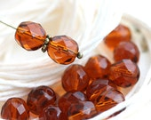 8mm round beads, Topaz glass beads, czech beads, Fire polished, round faceted spacers - 15Pc - 2097