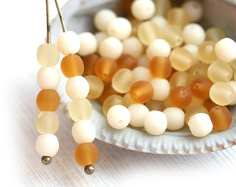 Amber Beige beads mix, czech glass Matte round druk spacers - 4mm -  approx.85-90Pc - 1246