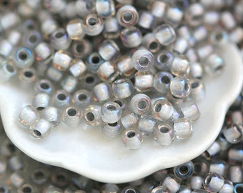 Grey seeds, TOHO beads, size 11/0, Inside-Color Rainbow Crystal Gray Lined N 261, grey beads, rocailles - 10g - S514