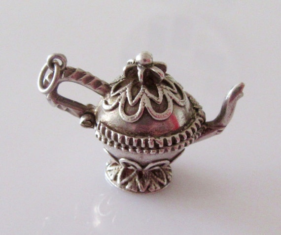 large silver teapot opening charm or pendant by