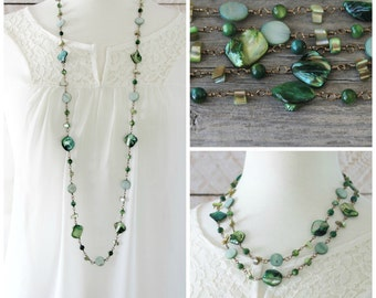 Long Bead Necklace: Green Shells Boho Chic Jewelry, Layering Style, Antiqued Brass, Spring Fashion, Beach Jewelry