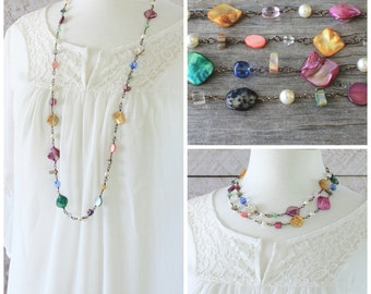 Long Colorful Necklace: Pink, Blue, Purple, Yellow, and Green Multicolor Shell and Glass Jewelry with Antiqued Brass, Layering Style