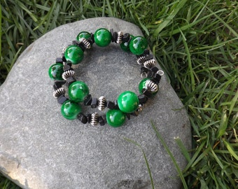 Green and Black Cuff Bracelet