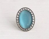 Large Turquoise Ring .. blue ring, large ring, blue silver ring, cats eye ring, aqua blue ring