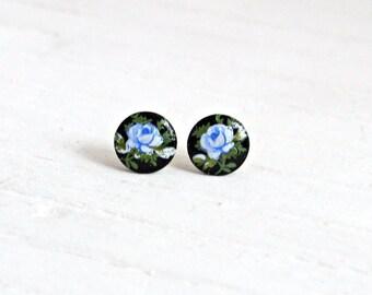 Black and Blue Rose Earrings ... black earrings, black post earrings, small studs, tiny flower earrings, blue rose post earrings