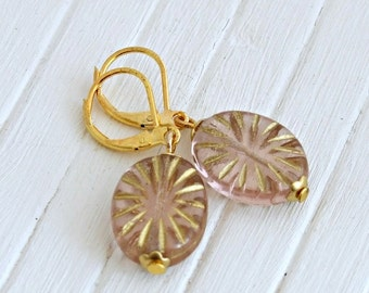 Pink and Gold Earrings ..starburst, soft pink earrings, oval earrings, dangle earrings, vintage style earrings