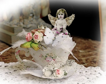 Reneabouquets DIY Kit~ 3D Chubby Little Cherub Tea Cup Die Cut  Do It Yourself Kit ~ Everything You Need To Create The Tea Cup You See