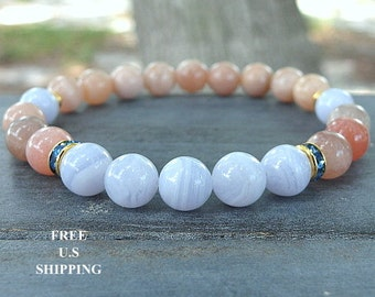 Blue Lace agate,Moonstone, healing bracelet, Yoga Bracelet, intention, Meditation bracelet, Reiki, mala, mala beads, Gemsone bracelet