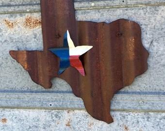 Rustic Texas decor - Texas flag - Texas handmade - Corrugated tin Texas