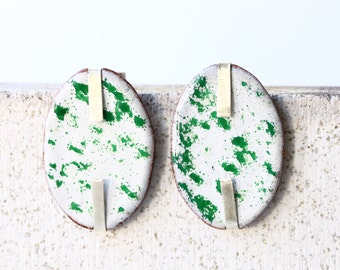 Oval stud earrings - white and green enamel on copper with sterling silver setting