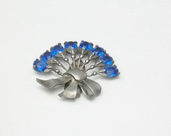 Antique Fur / Dress Clip Cobalt Blue Crystal Flower Bouquet Silver Pot Metal Costume Jewelry