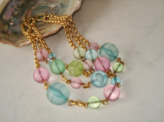 Vintage Pastel Necklace Three Strand Gold Tone Beaded
