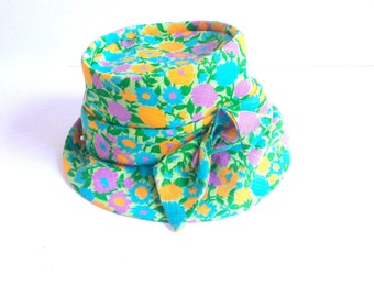 Mid Century Flowered Fabric Hat