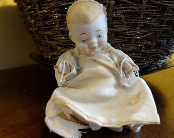 Precious 5-Inch Shackman Bisque Baby Doll with Lace Cap Made in Japan - REDUCED