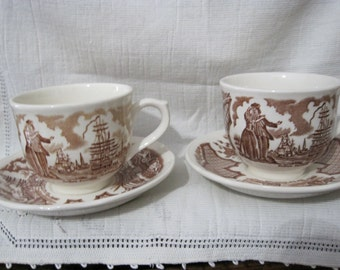 Set of Two Vintage 1960's Alfred Meakin Fair Winds Cups & Saucers
