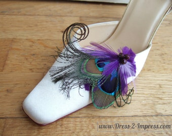 """Bridal Peacock Feathers Purple Lilac Shoe Clips / Bag Clips """"Tara"""" SCP1204 (Pair) - 2 Day To Make - Bride - Mother of The Bride - Bridesmaid"""