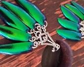 Dangle Elytra Wing Earrings Emerald Green Goddess Chandelier Pagan Gypsy Gothic Princess