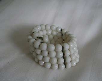 Memory Wire Cuff Bracelet with White Faceted Beads