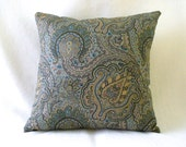 "Teal Paisley Pillow with 16"" x 16"" Insert, Decorative Upholstery Fabric"