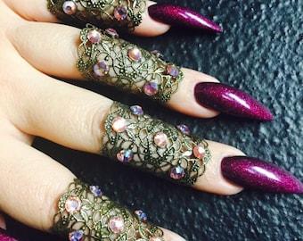 Flower power finger cuffs, set of 5