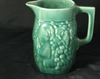 Antique Stoneware green large pitcher no chips