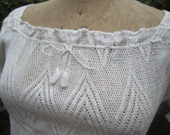 Woven Blouse handmade Vintage White Victorian Gypsy  Boho Beach Lace Chemise Knit Folk Antique Small