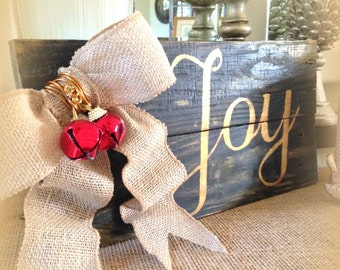 JOY Pallet Sign Wood Rustic Christmas Sign Reclaimed Wooden Jingle Bells Plaque Joy Repurposed Wood Sign Holiday Home Decor