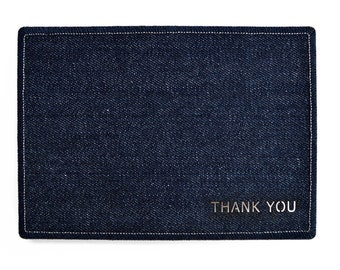 THANK YOU Denim Card - Handmade from Salvaged Fabric