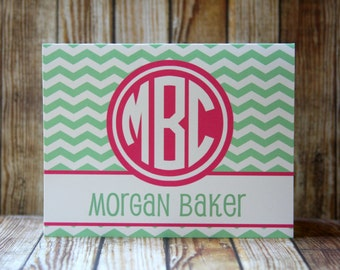 Set of 10 Notecards, 24 Colors-Monogrammed Chevron Notecards with Envelopes, Mint and Fuchsia Notecards, Custom Notecards