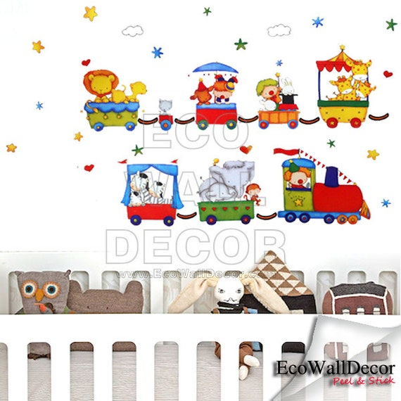 PEEL and STICK Kids Nursery Removable Vinyl Wall Sticker Mural Decal Art - Ark Train Trail, Circus Animal