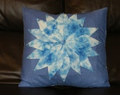 Cushion cover,pillow sham,throw pillow,UNIQUE hand dyed fabric squares manipulated to make a flower on denim effect fabric,buttons18x18inch,