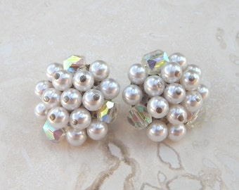 White Faux Pearl Cluster Clip On Earrings from Japan