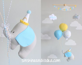 Elephant Baby Mobile, Balloon Nursery Decor, Travel Theme, Nursery Mobile, Gender Neutral, i71