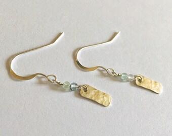Aquamarine Earrings in Sterling Silver, Gemstone Earrings, March Birthstone, Hammered Silver, March Birthday