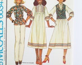 "Vintage dress pattern, McCall's pattern 6034 Size Miss 14: Boho clothing dress, top or vest inspired by ""Annie"" musical, 1978"