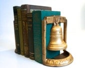 Set of Liberty Bell Bookends Gold Metal Mid Century Library - Floyd Jones Vintage