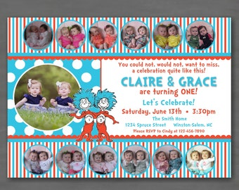Dr. Suess Thing 1 Thing 2 Birthday Party Invitation--Collage First Birthday Photo Card