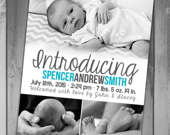 Birth Announcement Boy Birth Printable Birth New Baby Boy Photo Birth Photo Announcement Photo Card Its a Blue Birth