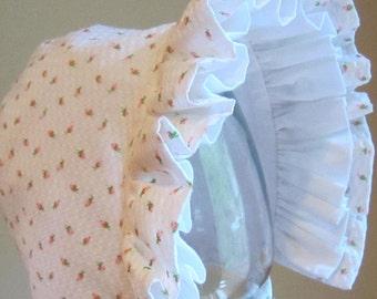Rosebud Baby Bonnet- Double Ruffle-Summer Bonnet