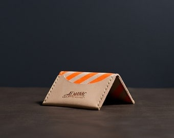 Three Pocket Folded Wallet - Neon Orange Stripe