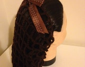 Brown vintage style crochet snood