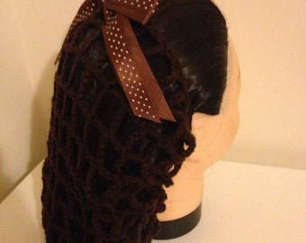Brown vintage style crochet snood