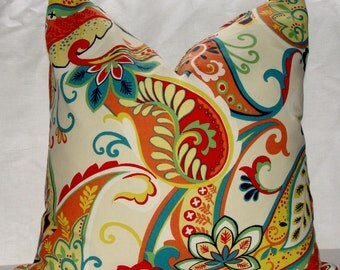 Covington Colorful Whimsy Paisley Multi Throw Pillow Cover Navy Blue Yellow Red Green Turquoise Coral White Ivory