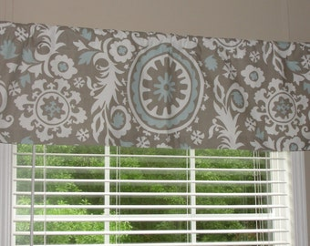 "Premier Prints Suzani Powder Blue Valance 50"" wide x 16"" long Lined or Unlined"