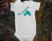"""Beautiful Baby Onsie - """"Keeper"""" and a Fish Hand Painted - Perfect Baby Gift"""